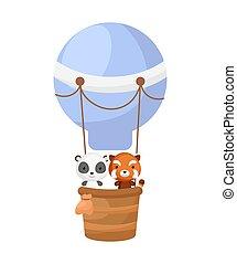 haus, bestand, einladung, luft, illustration., fliegen, vektor, childrens, karikatur, gruß, wenig, balloon., reizend, blaues, album, dusche, zeichen, buch, party, panda, karte, interior., panda, baby, rot heiß