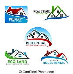 Haus, Häuser mit Mansarddächern, Fenstern