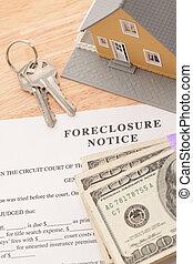 Haus, Hausschlüssel und Stapel Geld