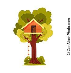 haus, illustration., kids., park, stil, wohnung, house., ladder., hölzern, laub, zwischen, spielende , seil, vektor, baum, stadt, parties., spielplatzfluktuation, kinder, grün
