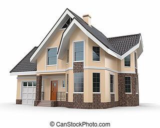 Haus im weißen Hintergrund. Dreidimensionales Bild