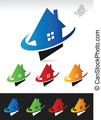 Haus Immobilien Swoosh Icons.