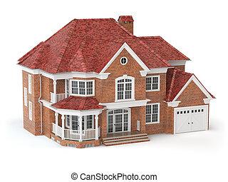 Haus isoliert auf weiß. Immobilien-Konzept. 3D