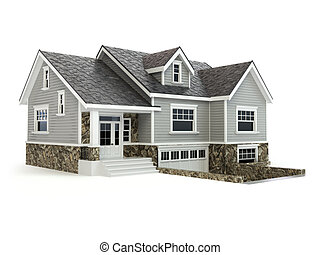 Haus isoliert auf weiß. Immobilien-Konzept.