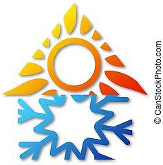 haus, klimaanlage, symbol, design