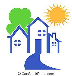 Haus mit Baum und Sonnenlogo.