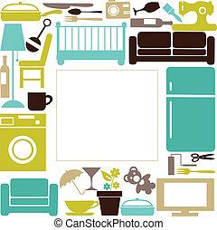 haus, satz, elctronics, furnitures