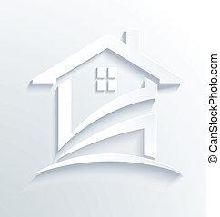 Haus weißer Logovektor