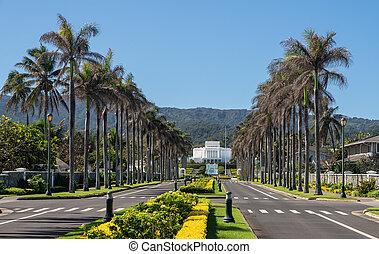 hawaii, letzt, straße, unten, tempel, kirche, laie, tag, gegen, oahu, heilige, ansicht