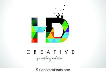 HD H D Buchstabenlogo mit bunten Dreiecks Textur Design Vektor.