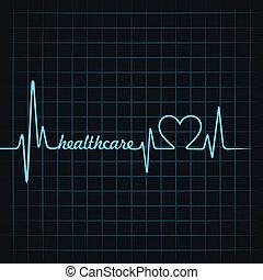 healthcare, herzschlag, machen, text