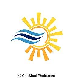 heiß, logo, zeichen, symbol., kalte , konditionierer, luft
