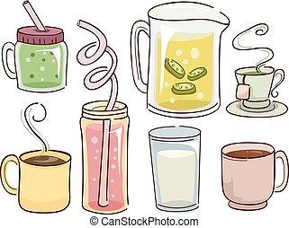 Heiße kalte Getränke Illustration.