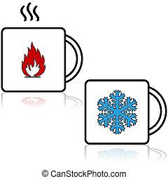 Heiße und kalte Getränke.