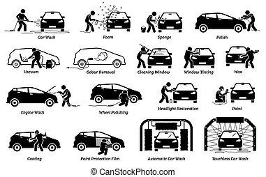 heiligenbilder, auto, professionell, set., detailer, auto