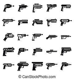 heiligenbilder, blaster, gewehr, satz, stil, einfache