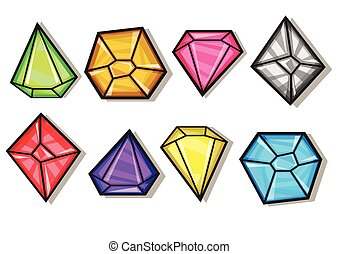 heiligenbilder, diamanten, satz, edelsteine, vektor, karikatur