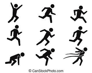 heiligenbilder, läufer, figur, satz, stock