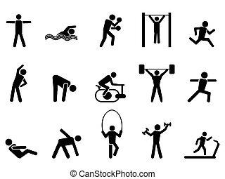 heiligenbilder, leute, schwarz, satz, fitness