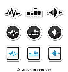 heiligenbilder, soundwave, musik, satz, vektor