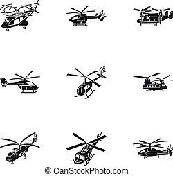 Helicopter Icon Set, einfache Stil