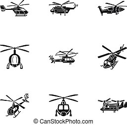 Helicopter transport icon set, simple style