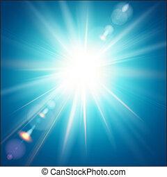 hell blau, himmelsgewölbe, sonne, hintergrund., shines
