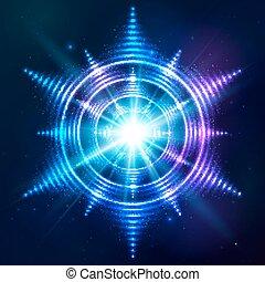 Hellblaue Neonsonne im dunklen kosmischen Hintergrund.