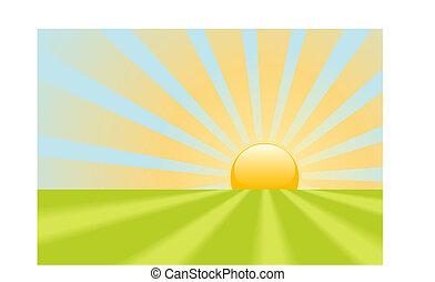 Helle gelbe Sonnenstrahlen leuchten auf der Erde