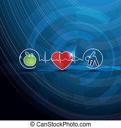Helle Kardiologiesymbole, gesundes Wohnkonzept