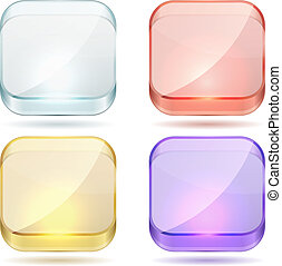 Hellfarbenes Glas umrundete Quadratknöpfe.