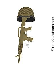helm, army., soldier., gewehr, cross., instead, grab, abzeichen, kriegsbilder, grab