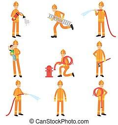 helm, schützend, feuerwehrmann, satz, sammlung, uniform, ihr, arbeit, vektor