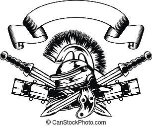 Helm und Schwerter