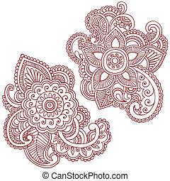 Henna-Blumen-Doodles Vektordesign