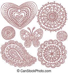 Henna-Doodles-Elemente aufgestellt