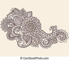 Henna mehndi Tätowierung Doodles Vektor.
