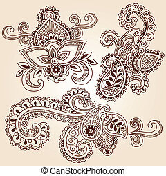 Henna Notizbuch-Doodles Vektorset