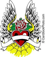 Heraldisches Herzflügel-Tattoo-Emblem