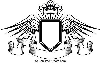 Heraldryschild mit Engelsflügeln und Krone