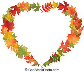 Herbstblätter in Form von Herz