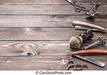 herrenfriseur, hölzern, weinlese, hintergrund, laden, werkzeuge