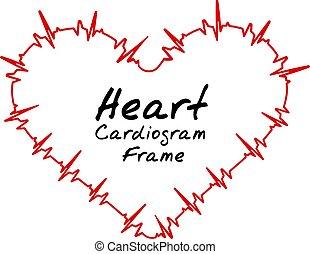 herz, abbildung, puls, vektor, bpm., kardiogramm
