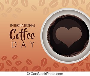 herz, ansicht, becher, luft, tag, international, feier, bohnenkaffee
