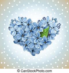 Herz aus Blumen eines Flieders