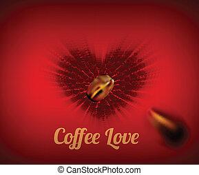 Herz aus Kaffeebohnen mit Text.