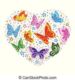 Herz aus Schmetterlingen und Blumen.