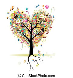 herz, baum, feiertag, form, luftballone, glücklich