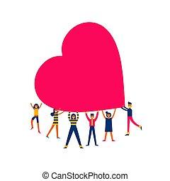 herz, begriff, personengruppe, groß, abbildung, liebe, halten