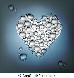 herz, eps10, geformt, abstrakt, valentines, wasser, drops., hintergrund, vektor, tag